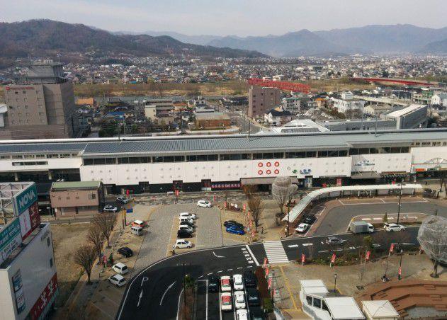上田駅お城口と温泉口側との風景の違い