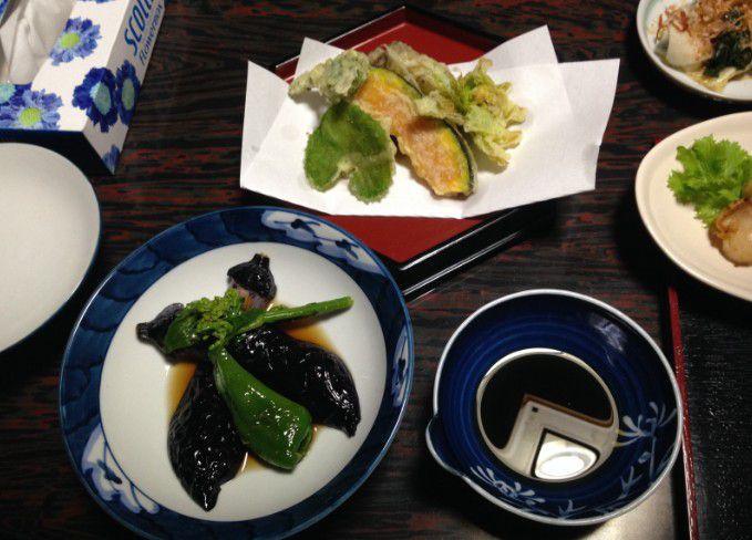 天ぷらと煮物
