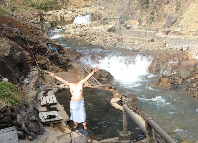 露天風呂で記念撮影