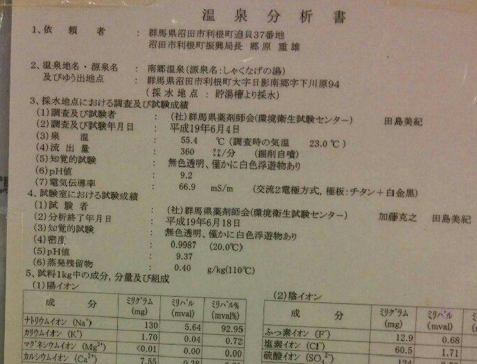 南郷温泉しゃくなげの湯温泉分析表