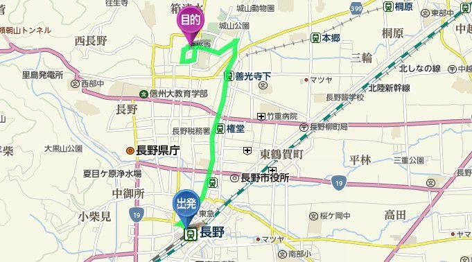 長野駅から善光寺までの距離