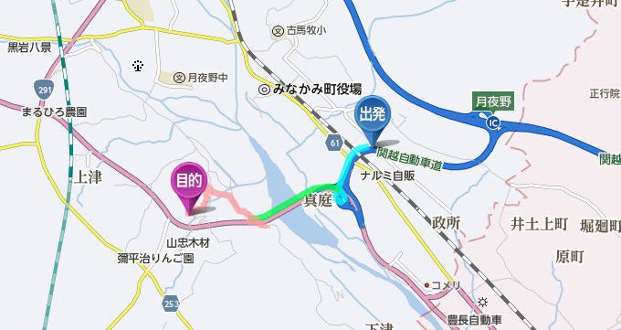 月夜野インターから名胡桃城までのアクセス地図