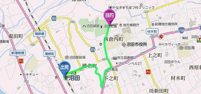 沼田駅から沼田城までのアクセス