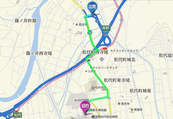 長野インターから松代観光案内所までの地図