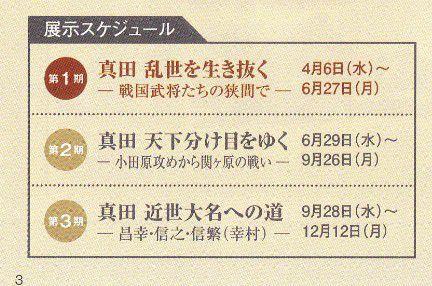 真田宝物館展示スケジュール