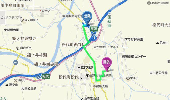 長野インターから長国寺までのアクセス