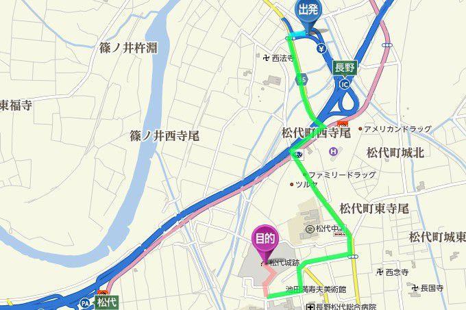 長野インターから松代城までのアクセス地図