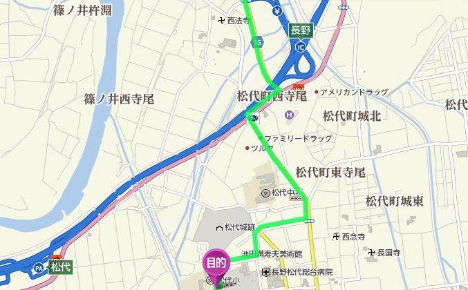 長野インターから文武学校までのアクセス地図