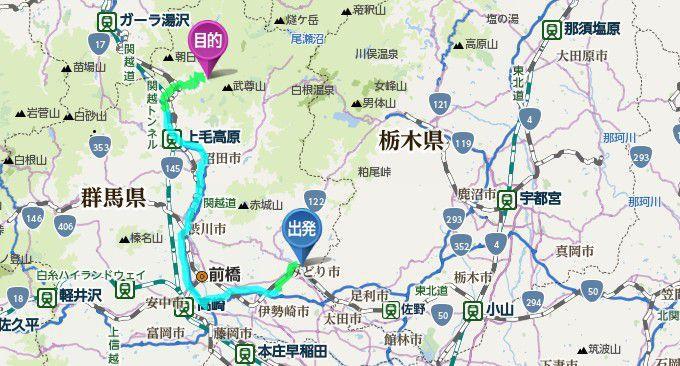 桐生から水上宝台樹キャンプ場までのアクセスマップ