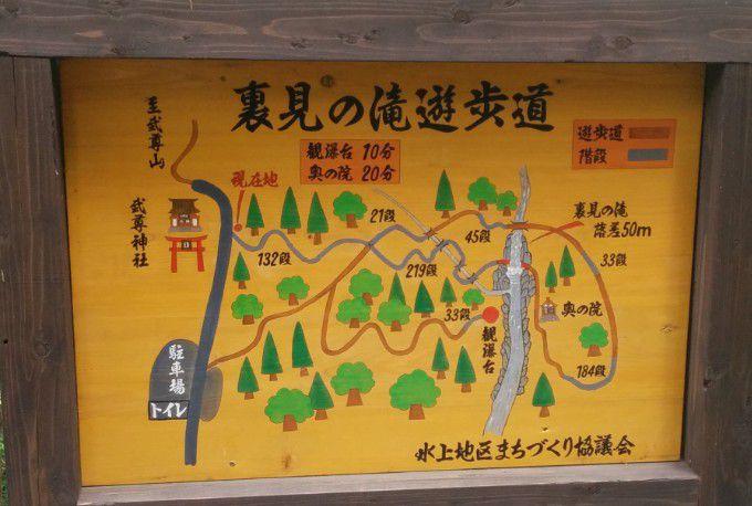 裏見の滝遊歩道案内図