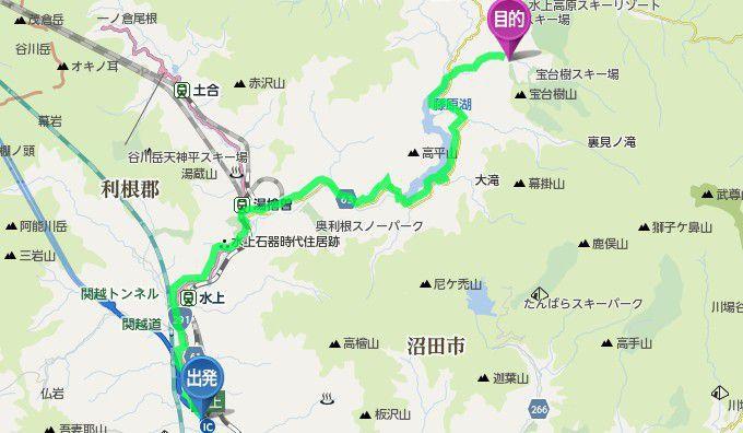 水上インターから水上宝台樹スキー場までのアクセスマップ