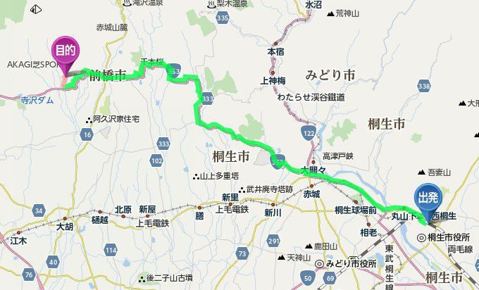 JR桐生駅から大崎つりぼりまでのアクセス