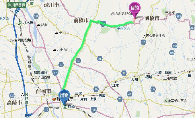 JR前橋駅から大崎つりぼりまでのアクセス