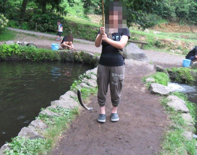 魚を釣り上げたところ