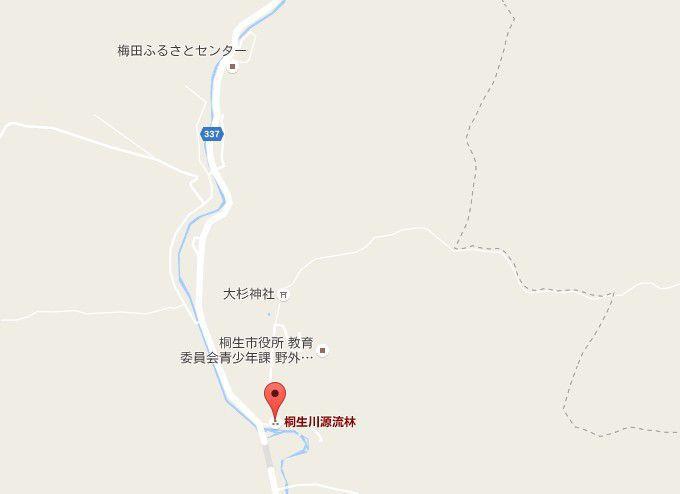 桐生川源流林の地図
