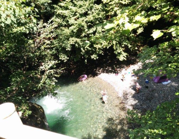 桐生川で川遊び
