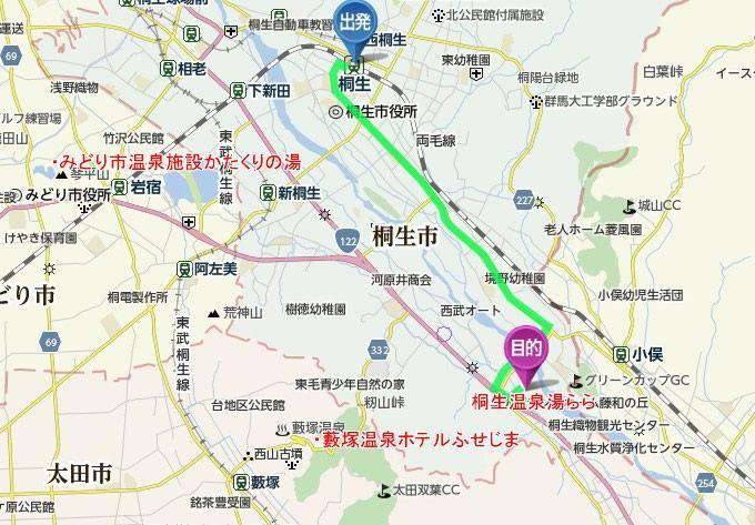 JR桐生駅から桐生温泉湯ららまでのアクセスマップ