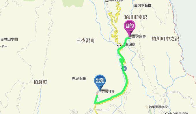 三夜沢赤城神社から滝沢館までのアクセスマップ