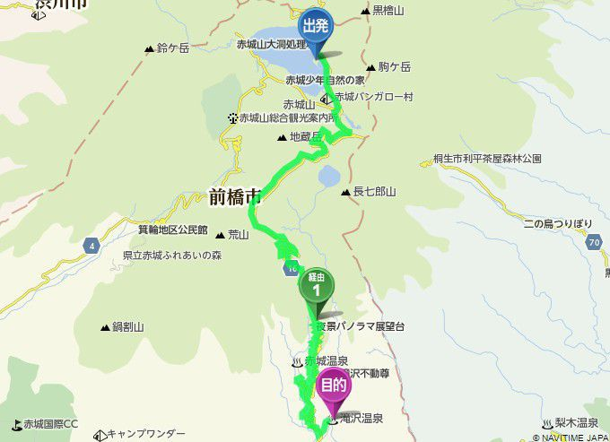 赤城大沼から滝沢館までのアクセスマップ