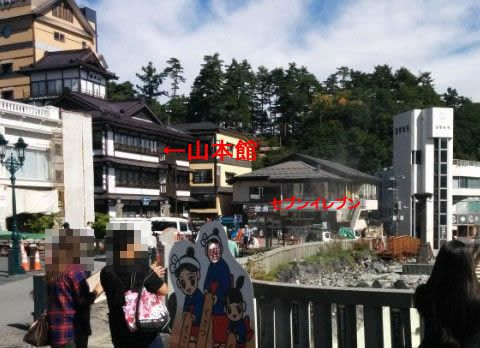 湯畑と山本館