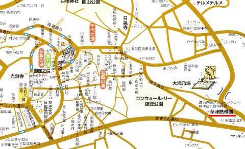 草津熱帯圏へのアクセス地図