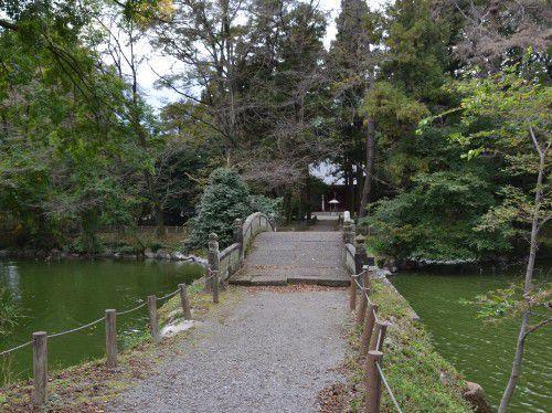 蓮池と渡月橋