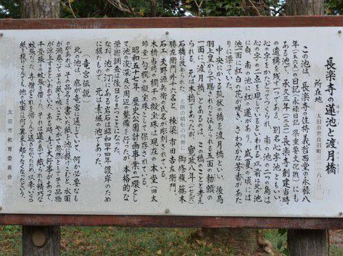 蓮池と渡月橋の説明
