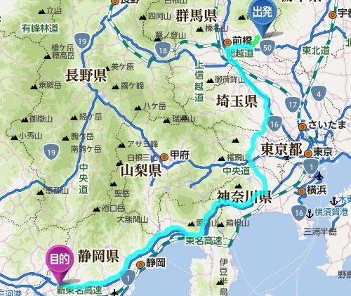 桐生から浜松SAまでの道のり