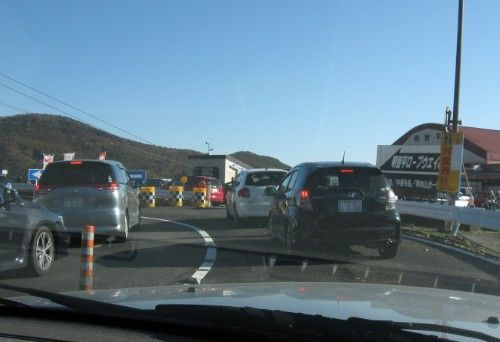 明智平駐車場に入る為の渋滞