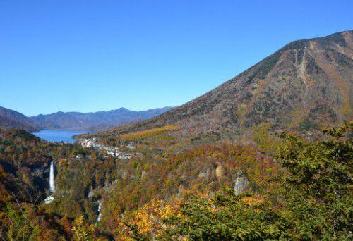 中禅寺湖と華厳の滝と男体山と白雲の滝の同時ショット
