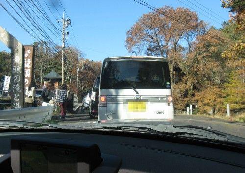竜頭の滝駐車場待ちの渋滞