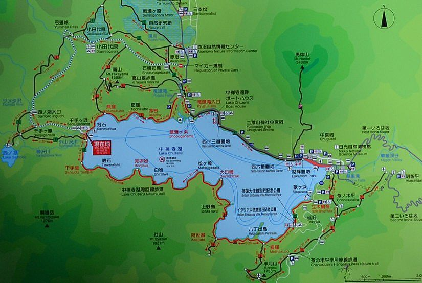 中禅寺湖遊歩道地図