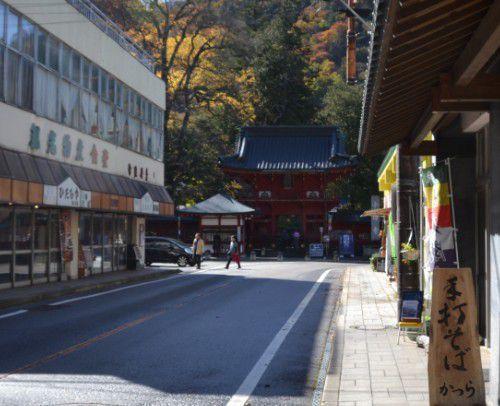 中禅寺立木観音の山門と手打ちそばかつらの看板