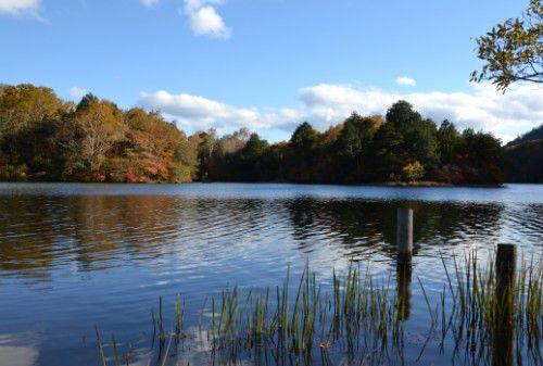 紅葉の湯ノ湖の様子