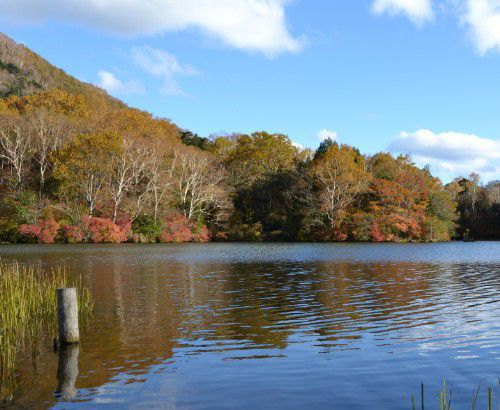 紅葉の湯ノ湖の景色