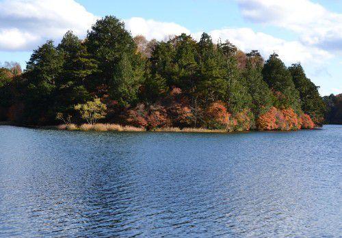湯ノ湖の紅葉の景色