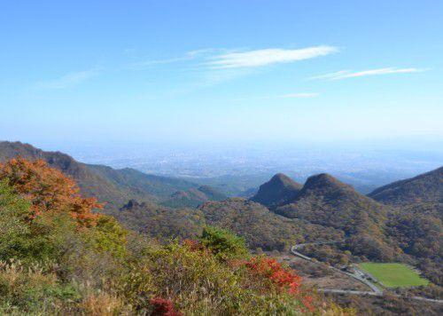 榛名山ロープウェイ展望台からの紅葉の眺め