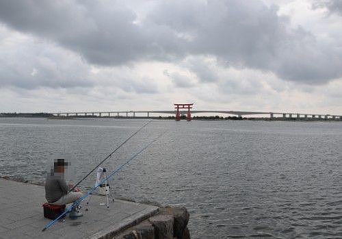 弁天島海浜公園で釣りをしてた人