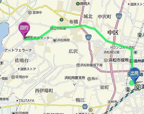浜松駅から大刀洗の池へのアクセスマップ