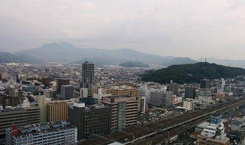 客室から富士山方向の景色