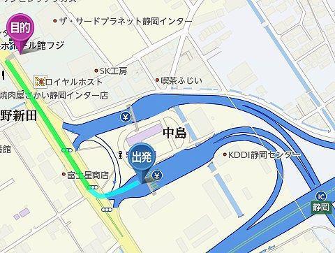 静岡インターから炭焼きレストランさわやかまでのアクセスマップ