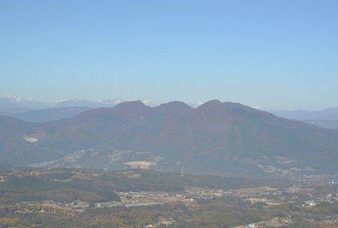 展望台から子持ち山と谷川岳の景色