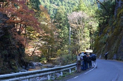 桐生川の紅葉を撮ってるカメラマンたち