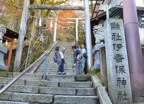 伊香保神社前の石段