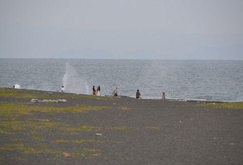 波しぶきをあげる海岸