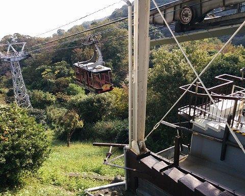 展望台から見えた日本平ロープウェイのゴンドラ