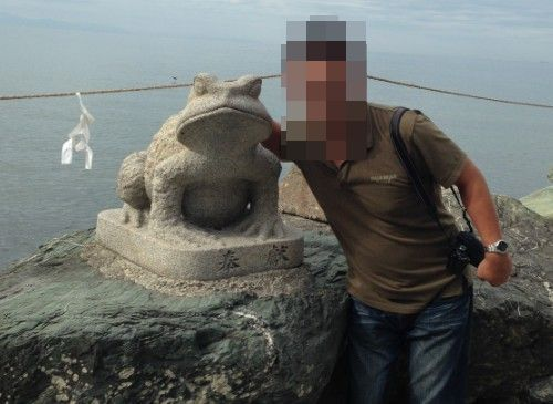 満願蛙と記念撮影