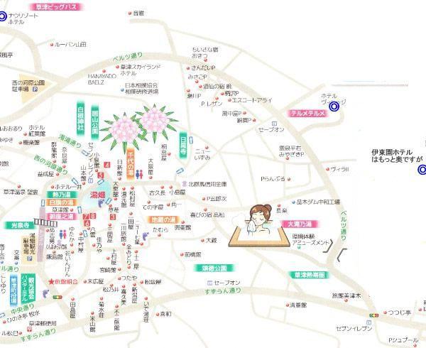 アミューズメント施設の多い宿の地図