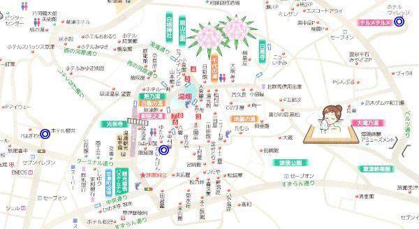 無料で見られるショーや体験ができる宿が草津温泉のどの辺りにあるのかわかる地図
