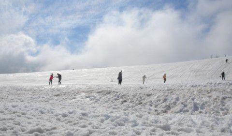 草津白根山近くの雪山で大勢の人がいる様子